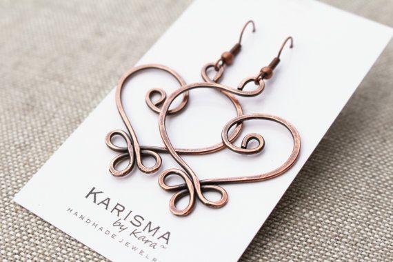 Copper Earrings, Oxidized, Large, Celtic Heart, Wire jewelry | Draht ...