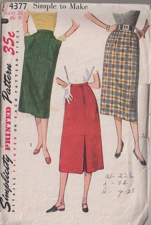 MOMSPatterns Vintage Sewing Patterns - Simplicity 4377 Vintage 50's Sewing Pattern CHIC Modest Below the Knee Simple to Make Slim Skirt Set, Back Inverted Pleat, Pockets