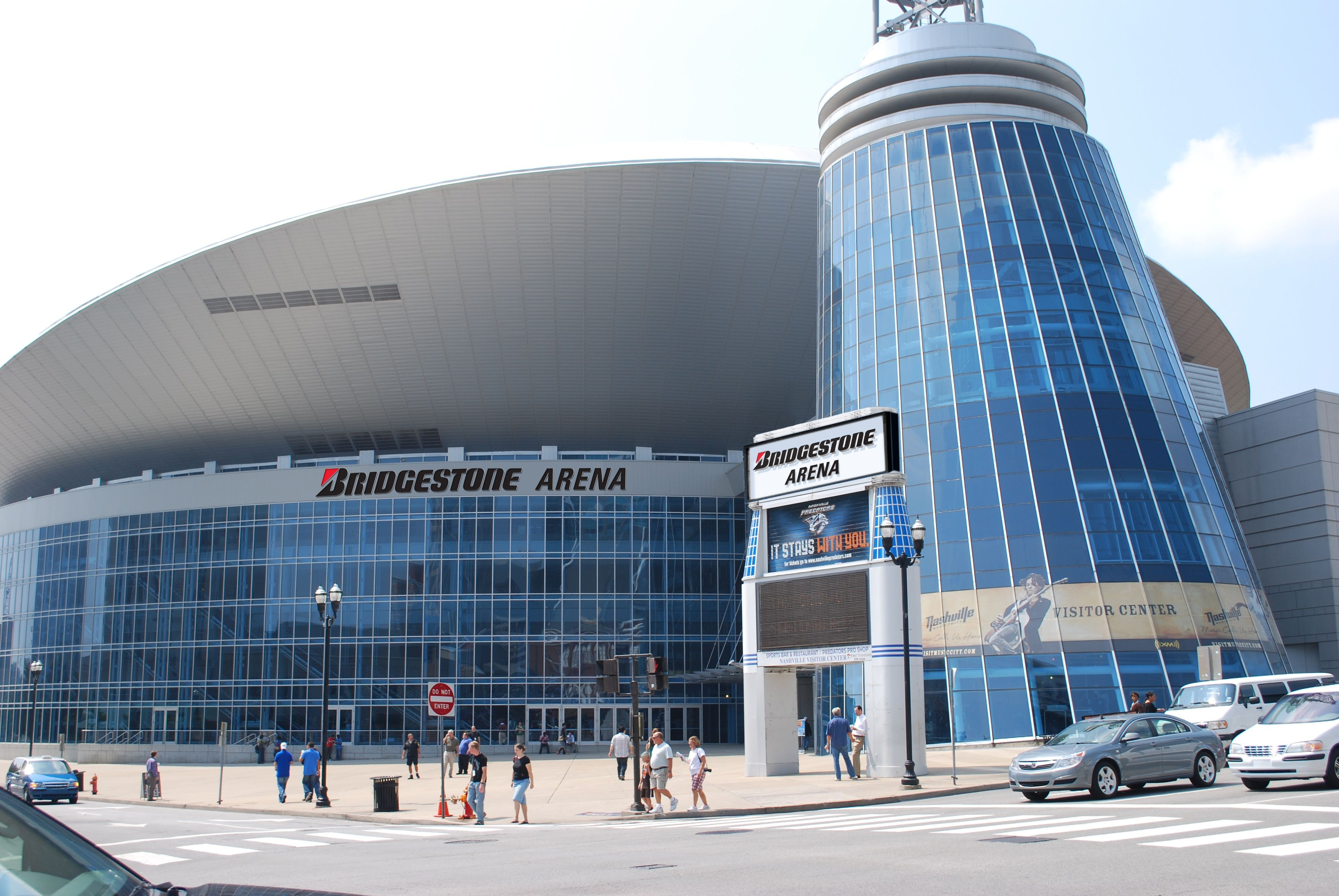 Bridgestone Arena in the heart of downtown Nashville. Built in 1996. Venue for sporting events, concerts and home of the Nashville ice hockey team, the Predators.