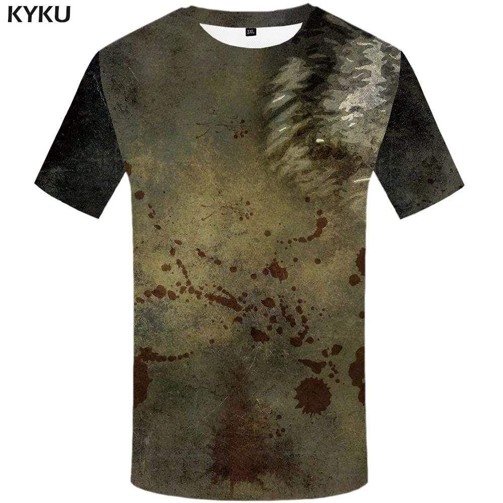 Photo of Wolf T shirt Men Graffiti T-shirt 3d Gray T shirts Funny Blood Tshirt Anime Art Tshirts Print Mens Clothing Hip hop Unisex Cool – XL