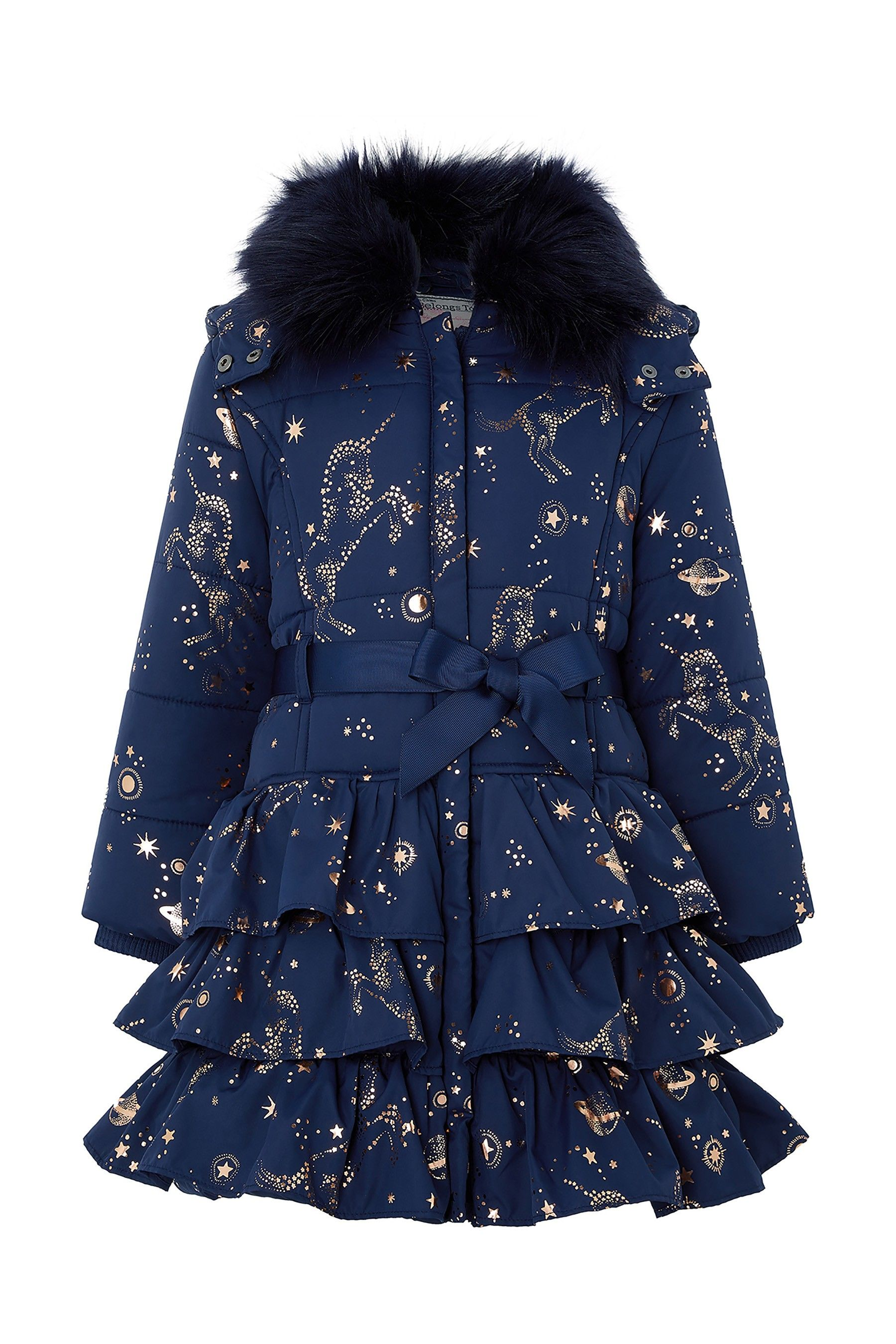 df938c22 Girls Monsoon Navy Gemini Unicorn Padded Coat - Blue in 2019 ...