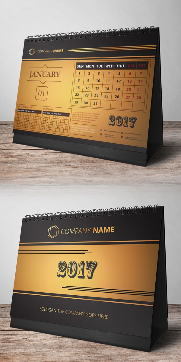 Free Desk Calendar Design 2017 #freepsdfiles #freepsdgraphics