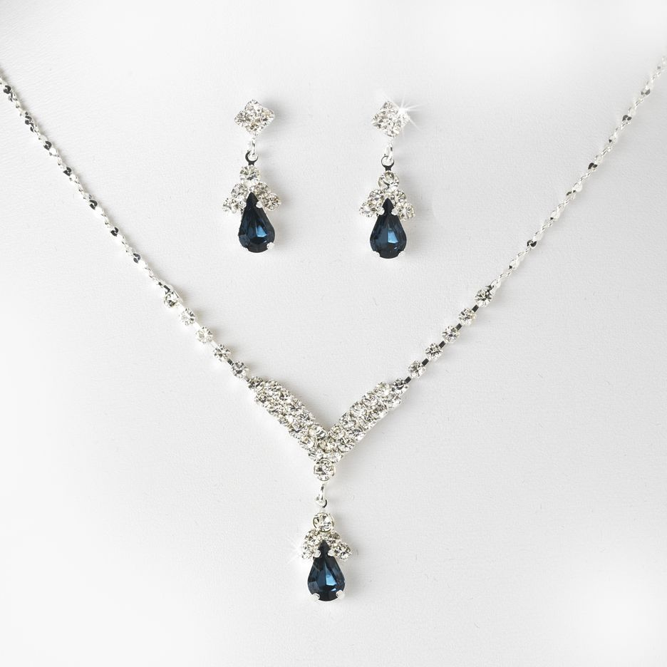 Navy and White Crystal Necklace 16 inch