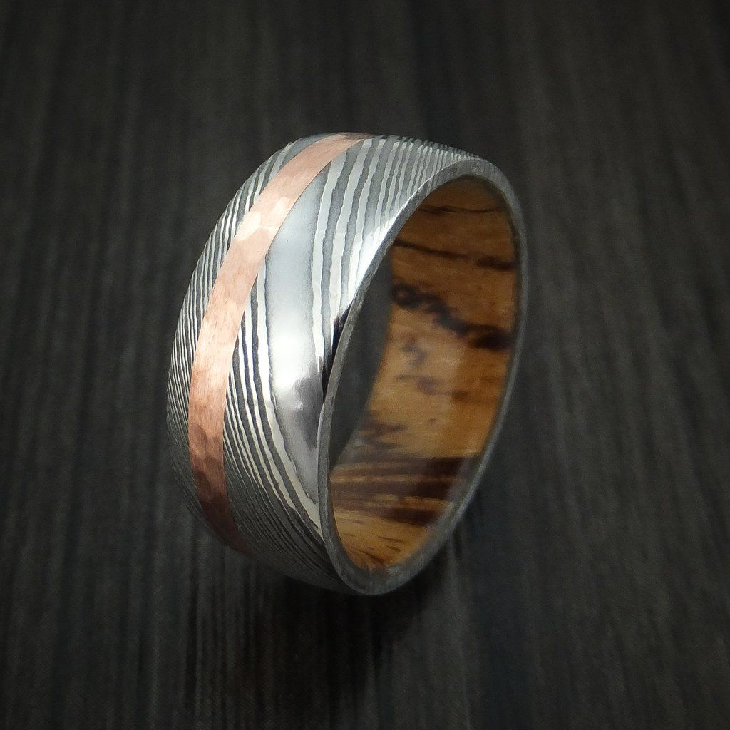 Damascus steel band with hammered 14k rose gold and