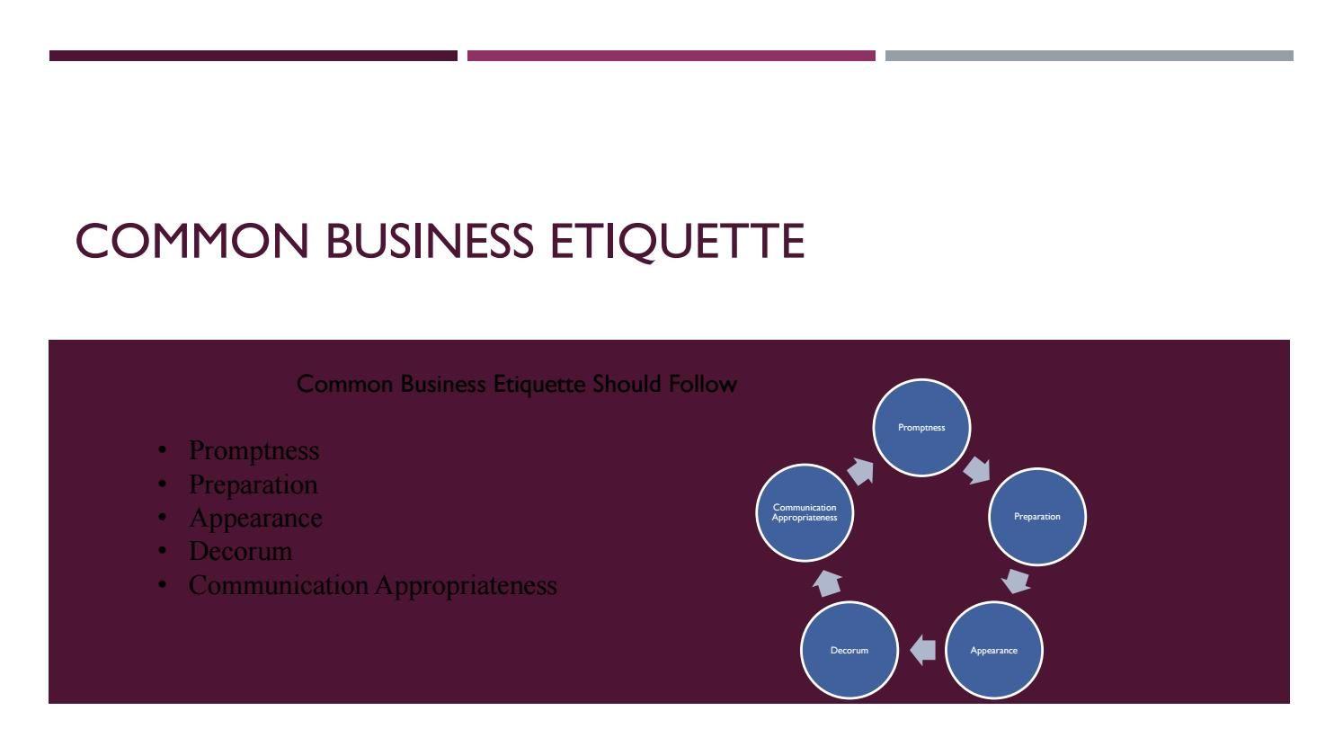 Common business etiquette business etiquette business