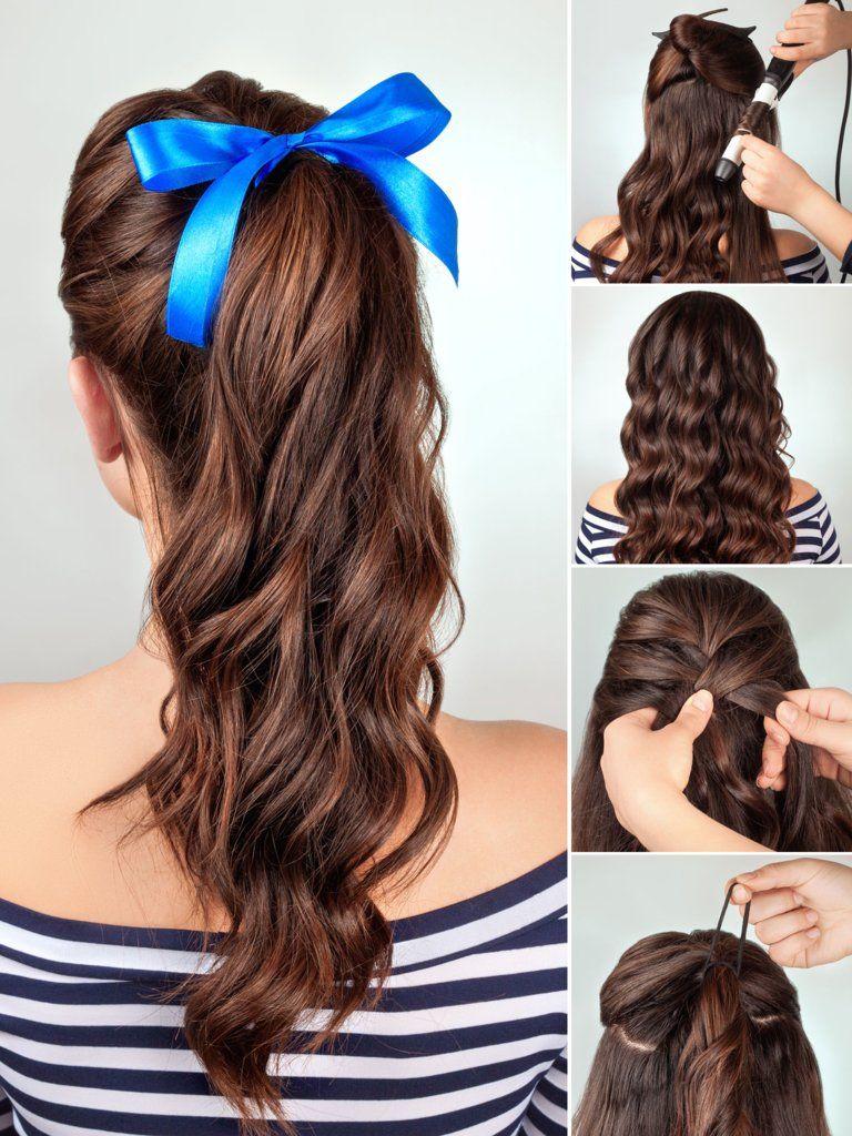 geflochtener half bun | frisuren, haarband frisur, locken