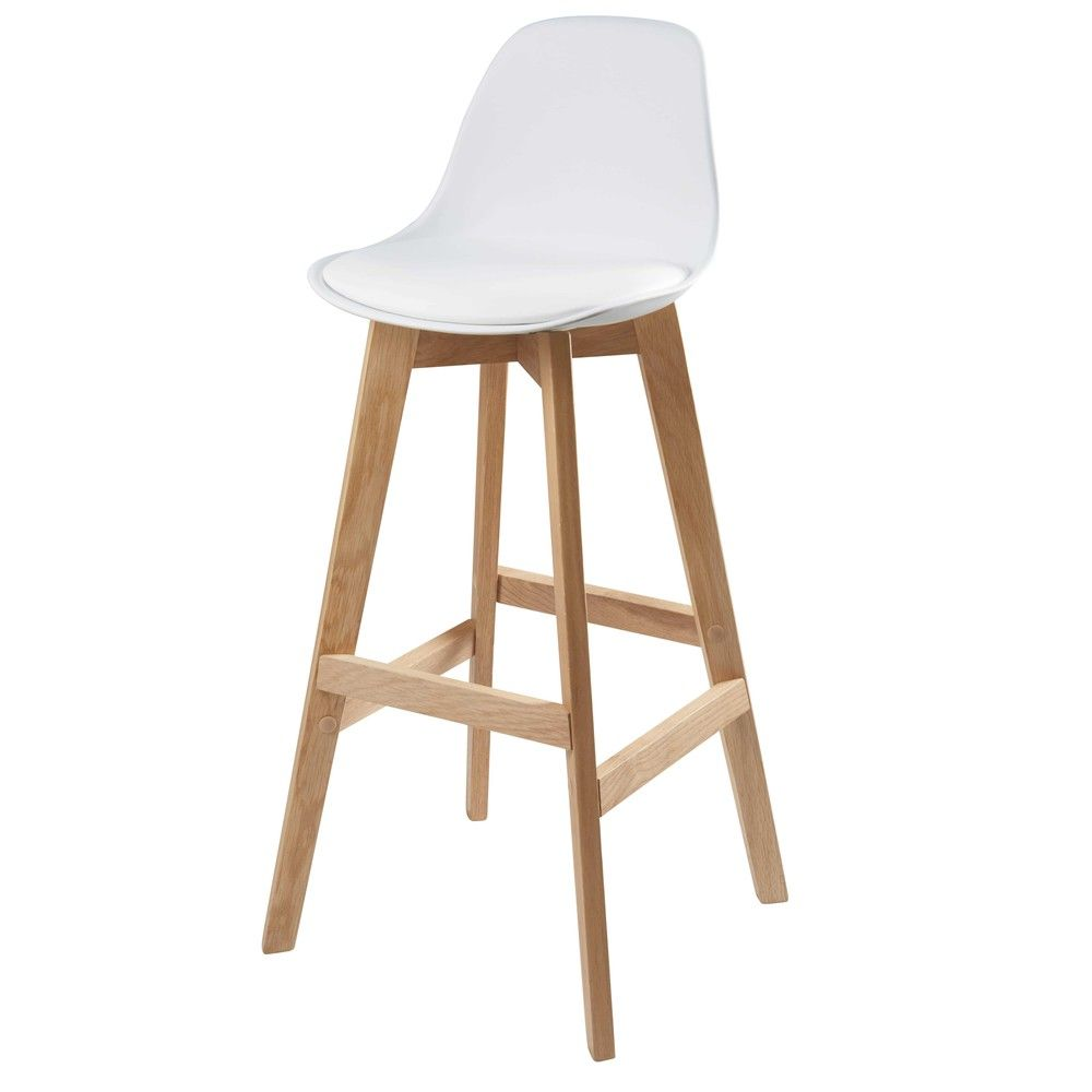 Chaise de bar scandinave blanche et ch ne massif chaises for Chaise ice maison du monde