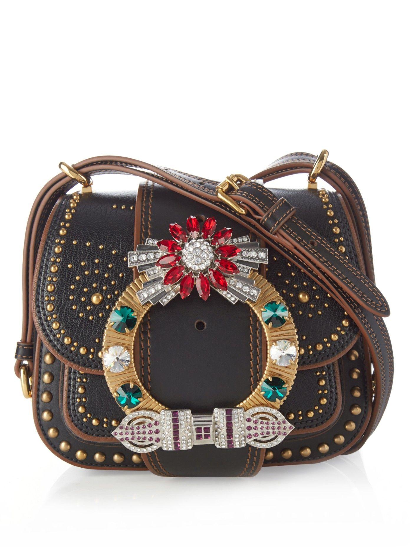 MIU MIU Dalia crystal-embellished leather cross-body bag   Things to ... 45c68e22d6