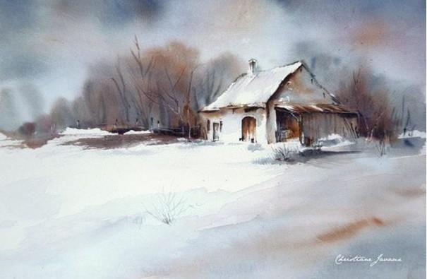 Les paysages enneig s partie 5 la neige et des aquarellistes d aujourd hui g z - Paysage enneige dessin ...