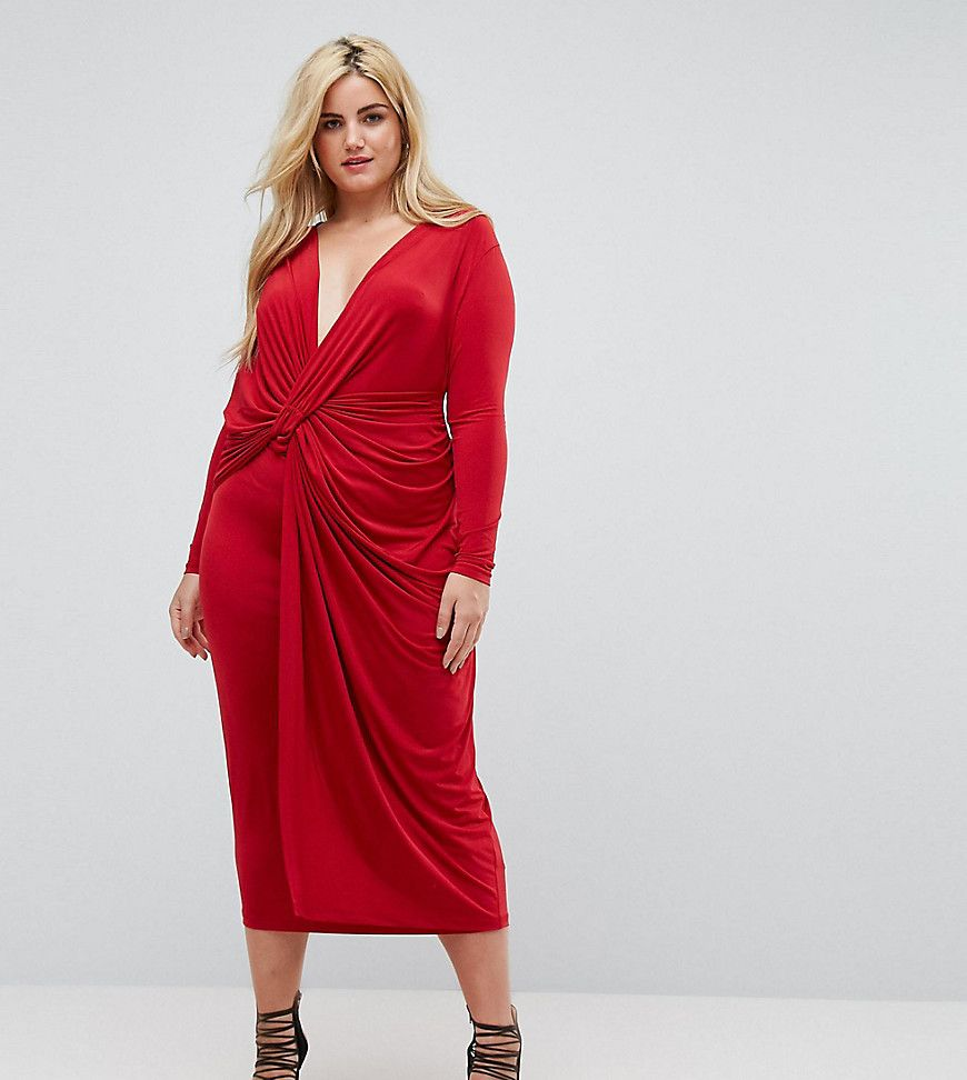 ASOS CURVE Plunge Twist Front Midi Dress - Red en 17  Traje