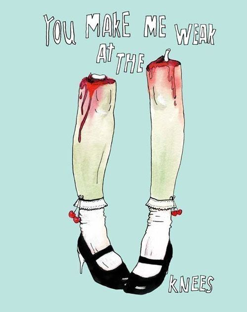 Zombie Leg Love Art Print A4 Size – Zombie Valentines Cards