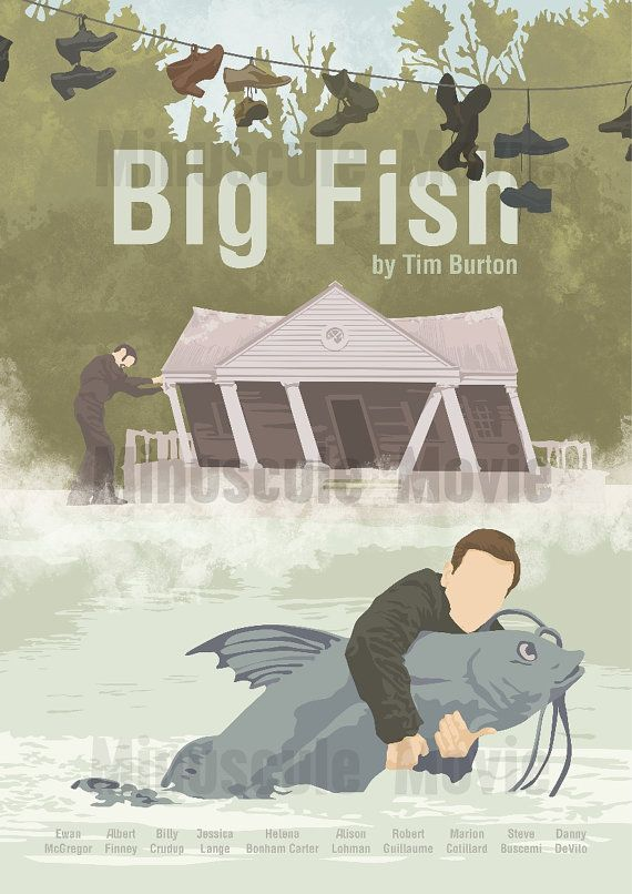 Big fish print poster tim burton a3 affiches de for Big fish printing