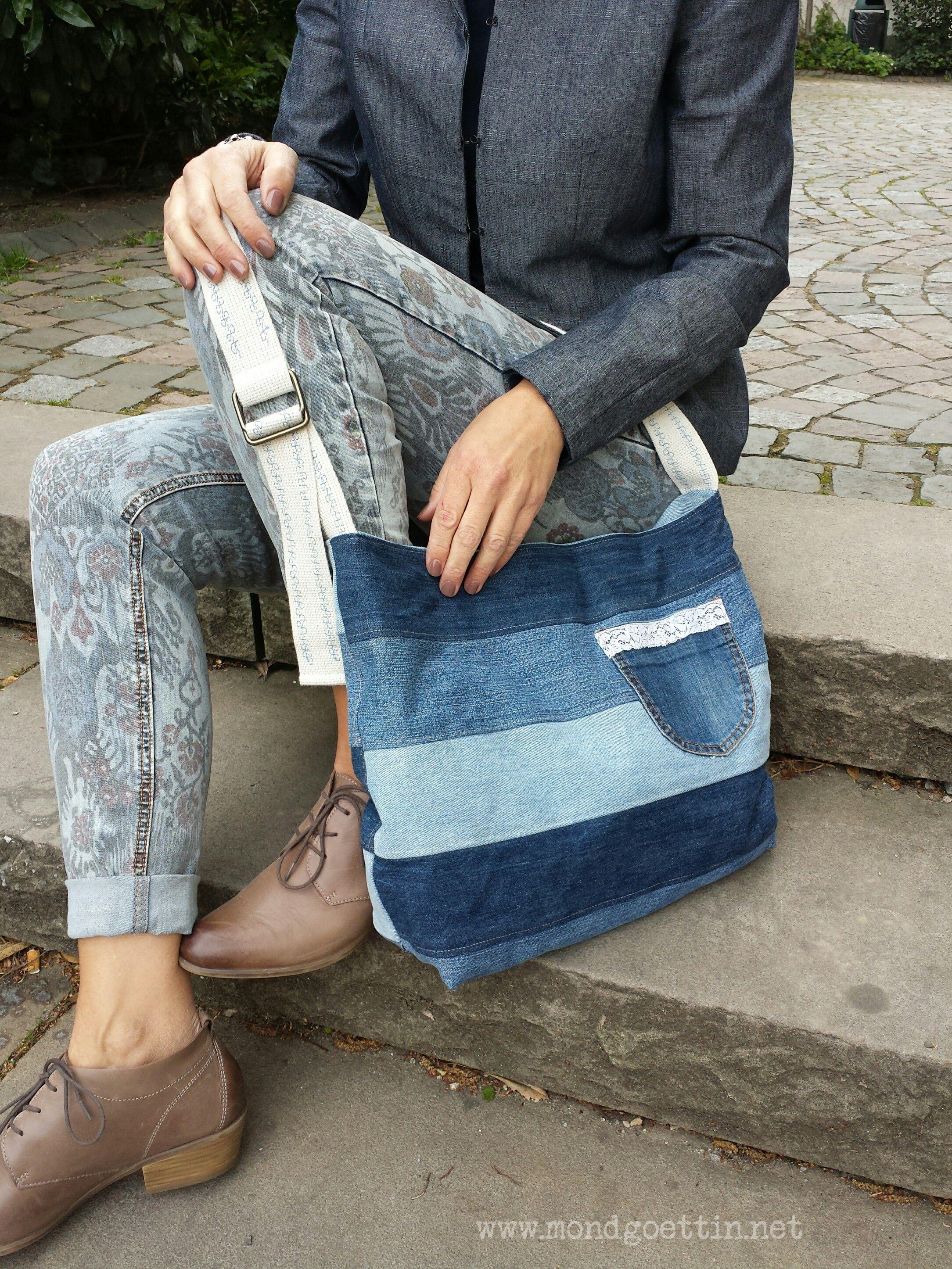 upcycling tasche aus jeanshosen jeans denim bag recycle jeans und jeans. Black Bedroom Furniture Sets. Home Design Ideas