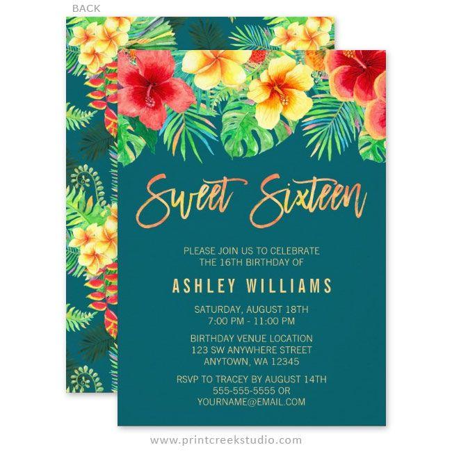 Trendy tropical watercolor flowers sweet 16 luau birthday party invitations.