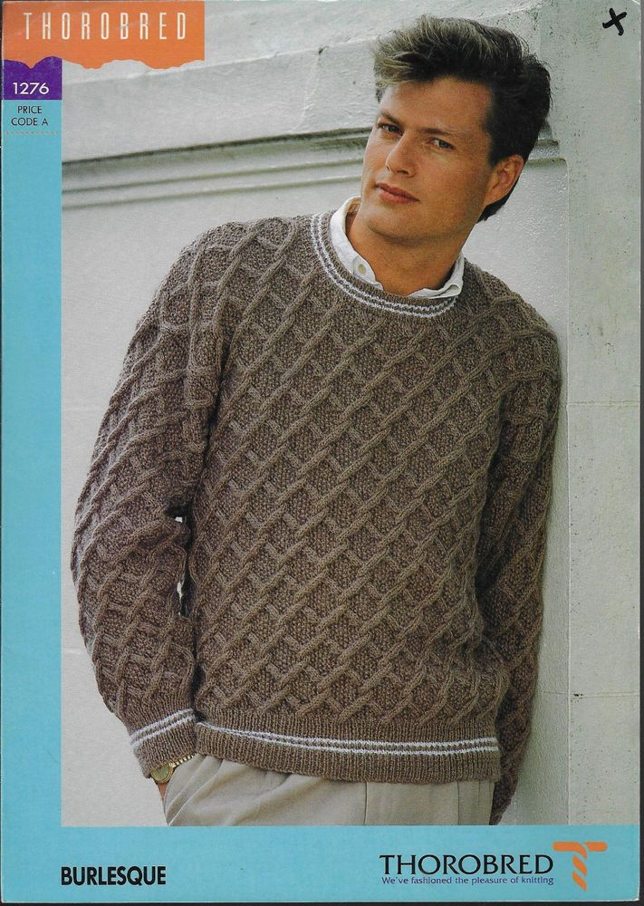 Men\'s Cable & Lattice Sweater Thorobred 1276 knitting pattern 8 ply ...