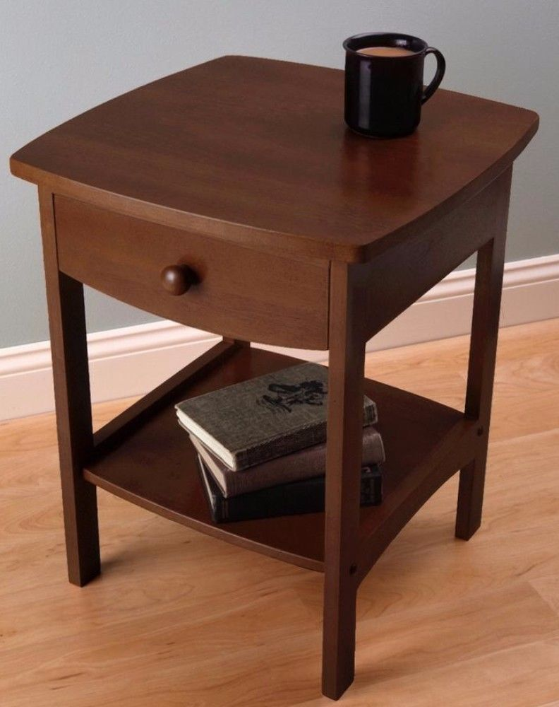 Accent Table With Storage Drawer Antique Walnut Finish Home Furniture New