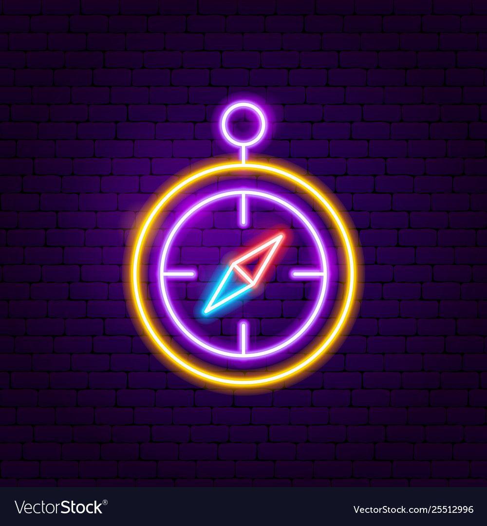 Compass neon label Royalty Free Vector Image VectorStock