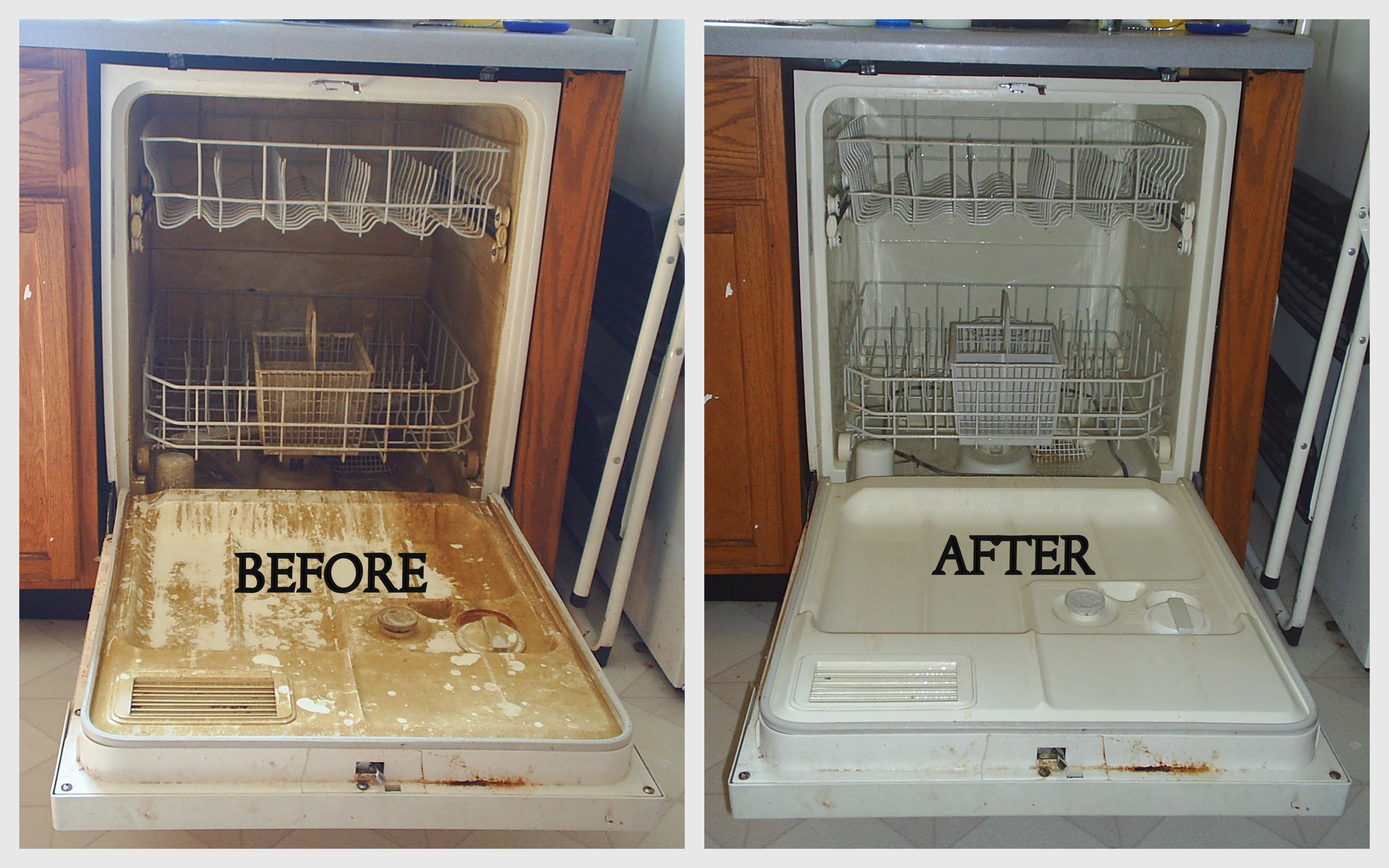 Lemi shine to clean hard water stains in dishwasher. My before was ...