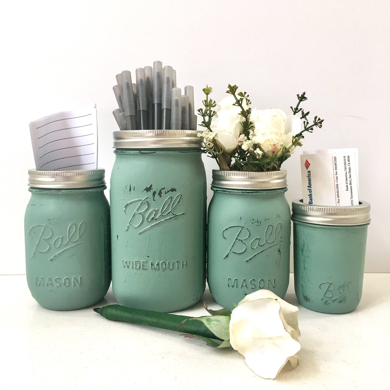 Rustic Desk Accessories Set Decor Mason Jar For Women Office