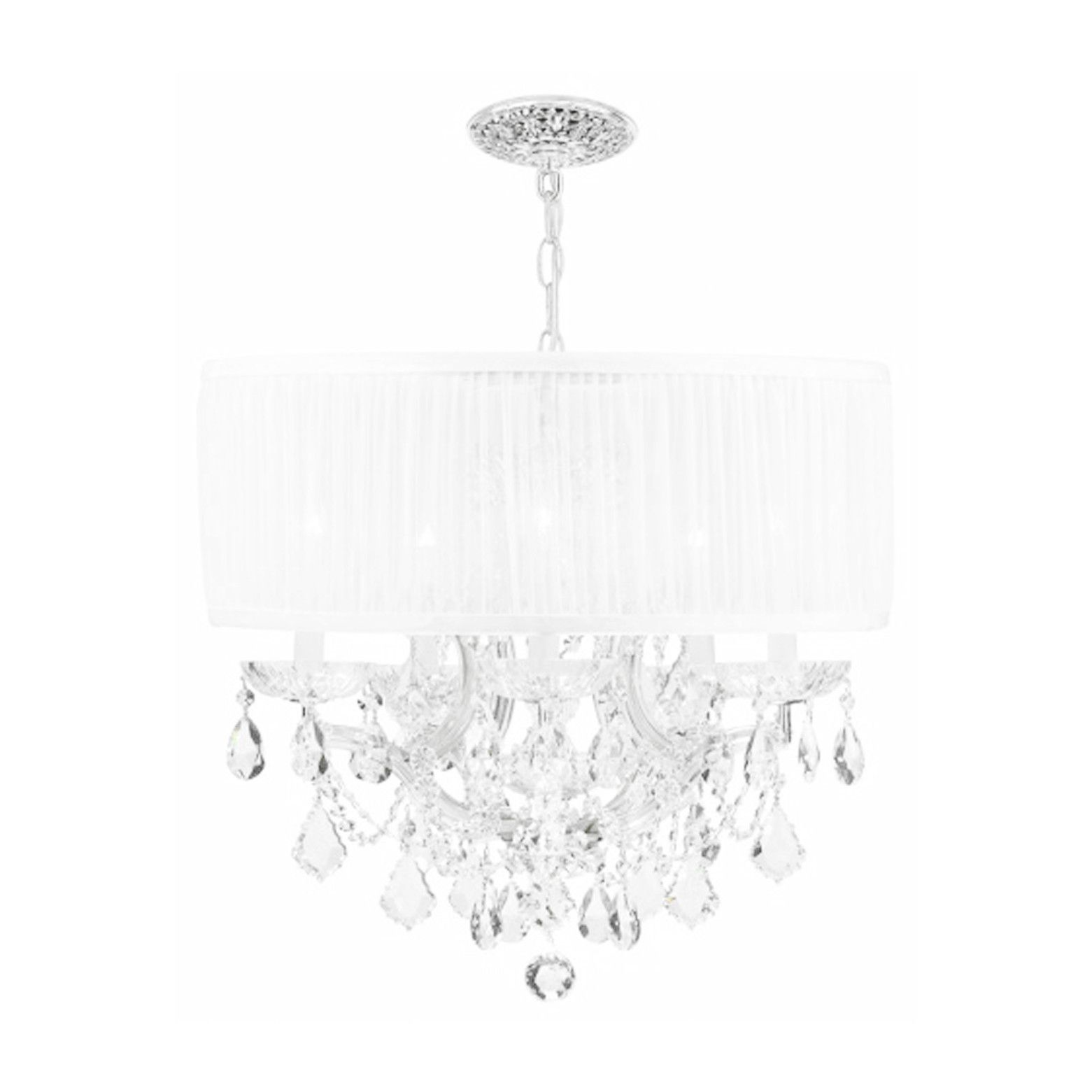 crystal and chandelier rainfall shade flush mount rich light p silver drum