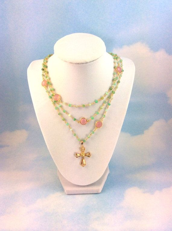 Chrysoprase Gemstones Layer Necklace 18kt by divinitycollection, $180.00