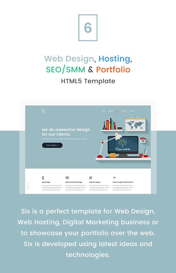 Six – Web Design, Hosting, SEO/SMM, Portfolio HTML5 Responsive ...