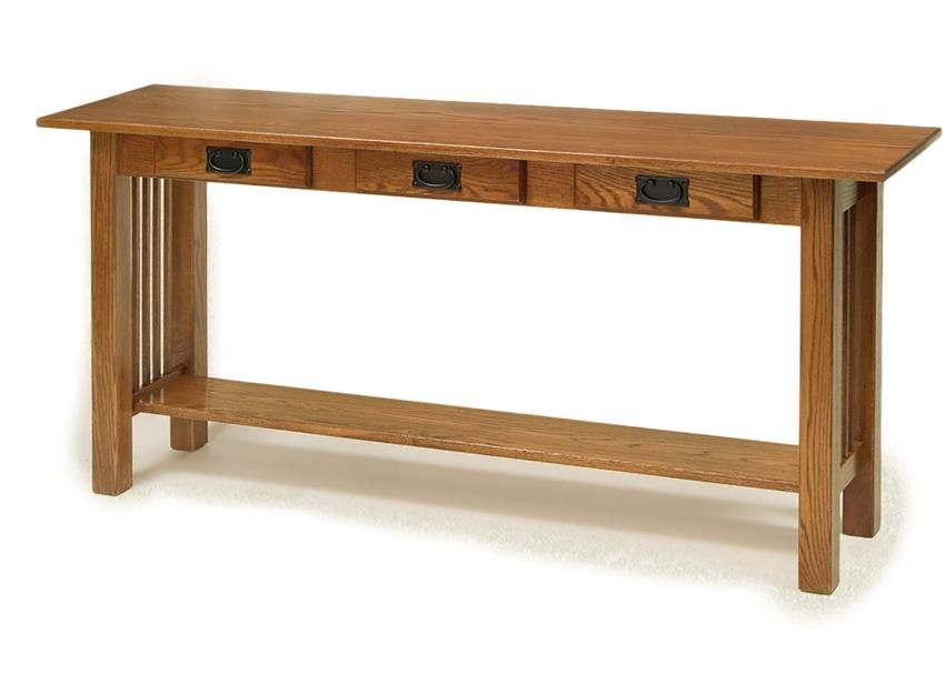 Amish American Mission Sofa Table With Three Drawers Amish Sofa Tables Amish Accent Tables 2910 Sofa Table Mission Style Furniture Farmhouse Console Table