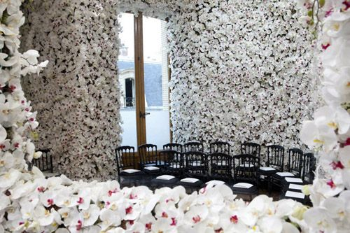 Raf Simons debuted his first collection for the house of Dior at the Haute Couture Fall/Winter 2012 show. He envisioned a magical canvas of flowers within an intimate salon setting to set off his feminine silhouttes. Each room contains hundreds of thousands of flowers from floor to ceiling: peonies, goldenrods, dahlias, carnations, delphiniums, roses...