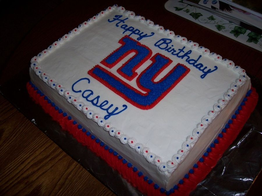 Super Ny Giants Giant Birthday Cake Ny Giants Cake Giant Cake Funny Birthday Cards Online Inifodamsfinfo