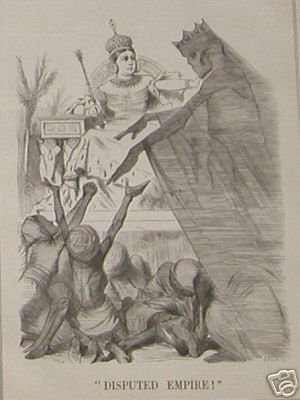 "3.1.3. 1870s ""Victoria Saviour"". La reina Victoria representada como protectora del pueblo indio durante la gran hambruna (The Great Famine) de 1876-78.   http://www.nytimes.com/books/01/02/18/reviews/010218.18senlt.html"