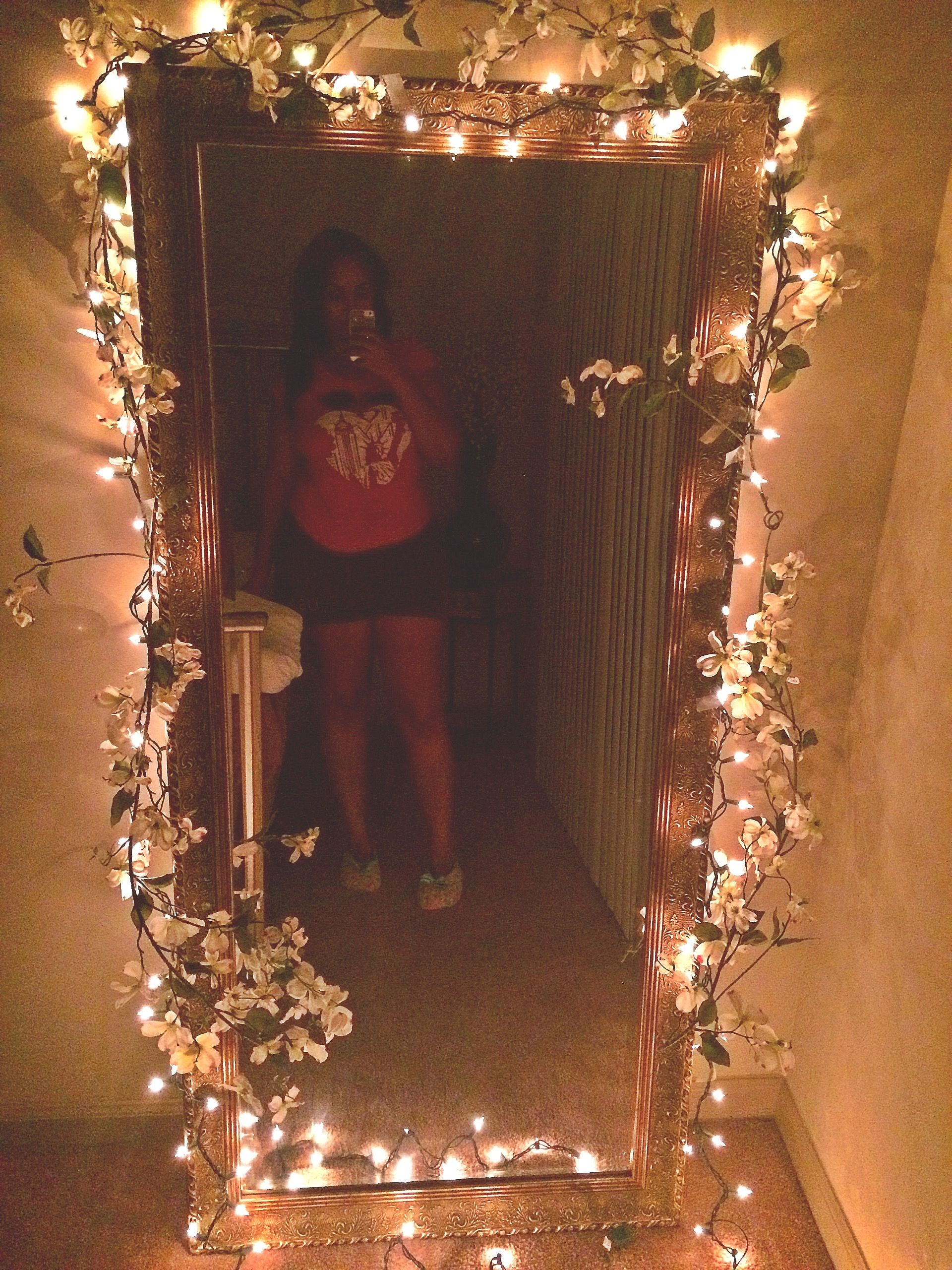 Added Some Fake Flowers And Strings Lights Around A Very Large Mirror 💜 With Images Diy