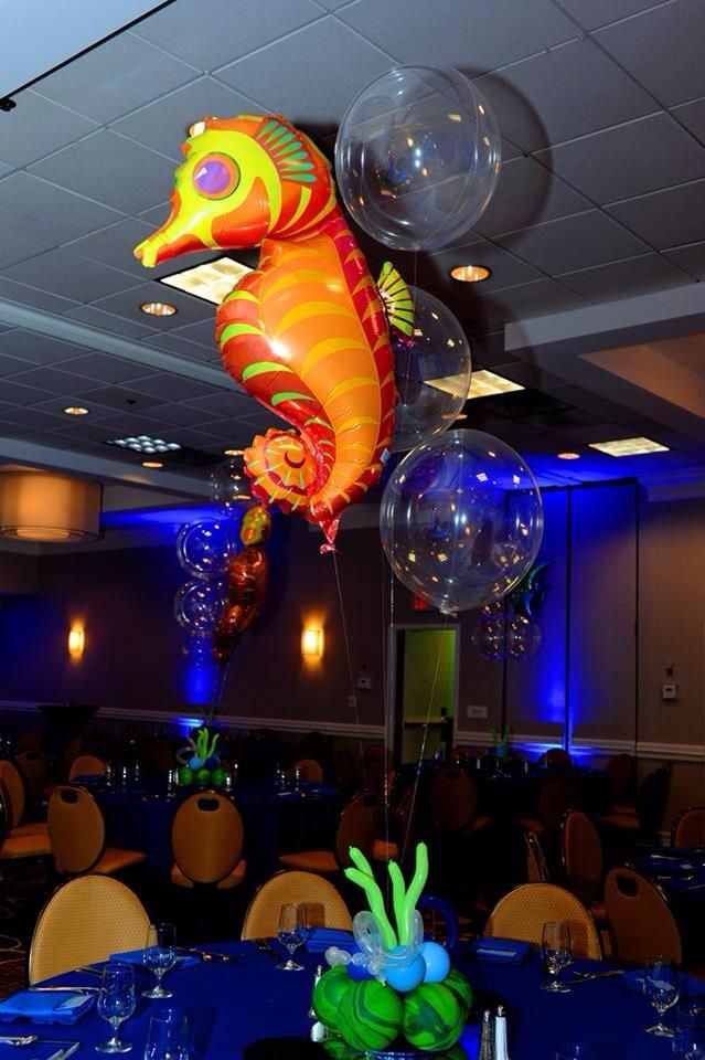 Mylar Seahorse And Latex Bubble Centerpieces Www