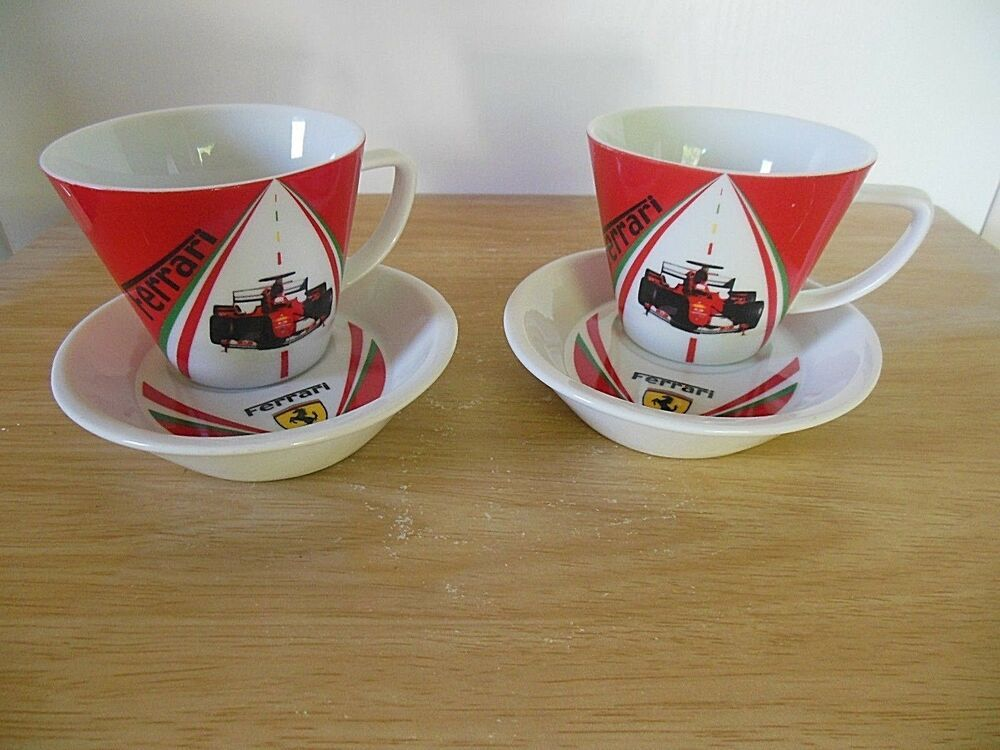 Ferrari Coffee Mug Saucer Set Of 2 White Red F1 World Champions Licensed Product