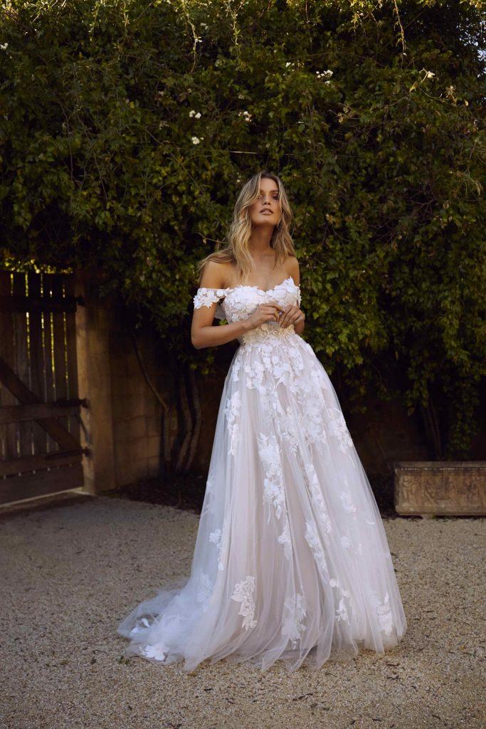 Elora Madi Lane romantic lace cap sleeve wedding dress