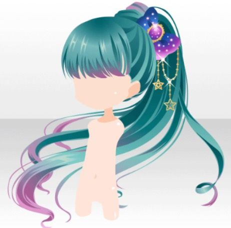 anime hair dark blue green aqua