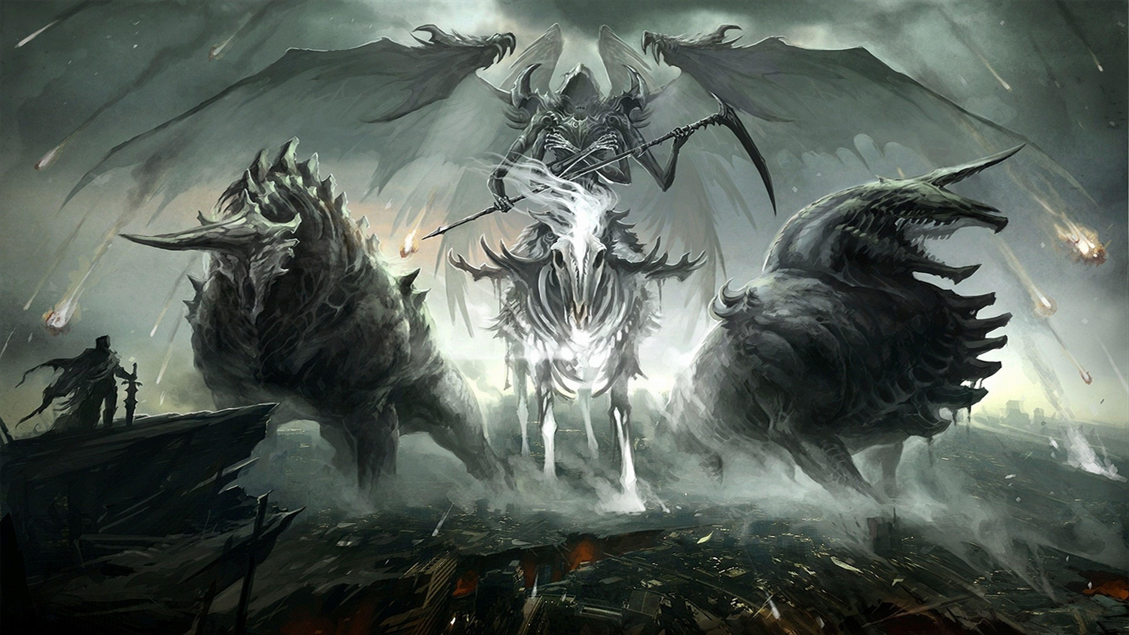 Dark Grim Reaper Skeleton Wings Knight Demon Wallpaper Dark Fantasy Fantasy Art Art