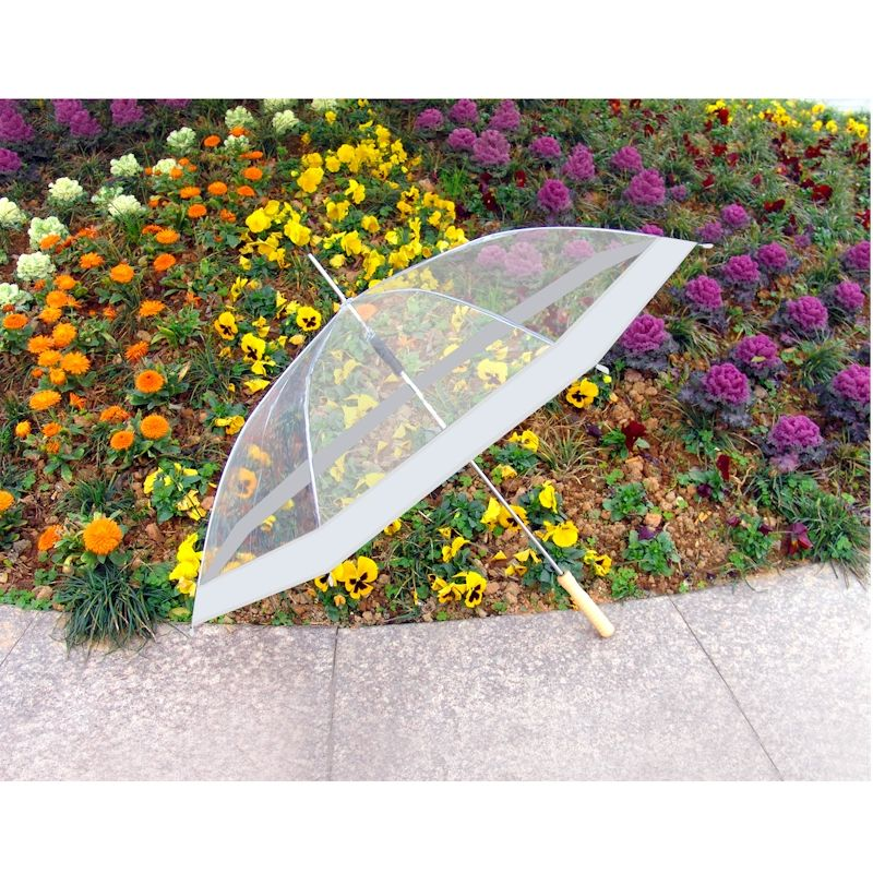 Clear Umbrella With White Accents 48 3 69 Wedding Umbrellas Whole At Ckb