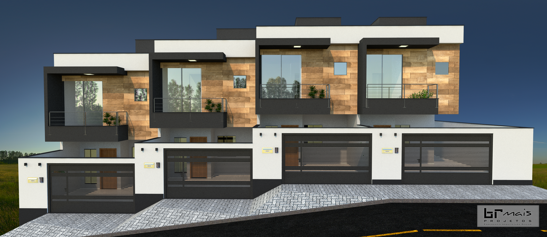 Fachada residencial casas geminadas arquitetura moderna for Casa moderna under 35