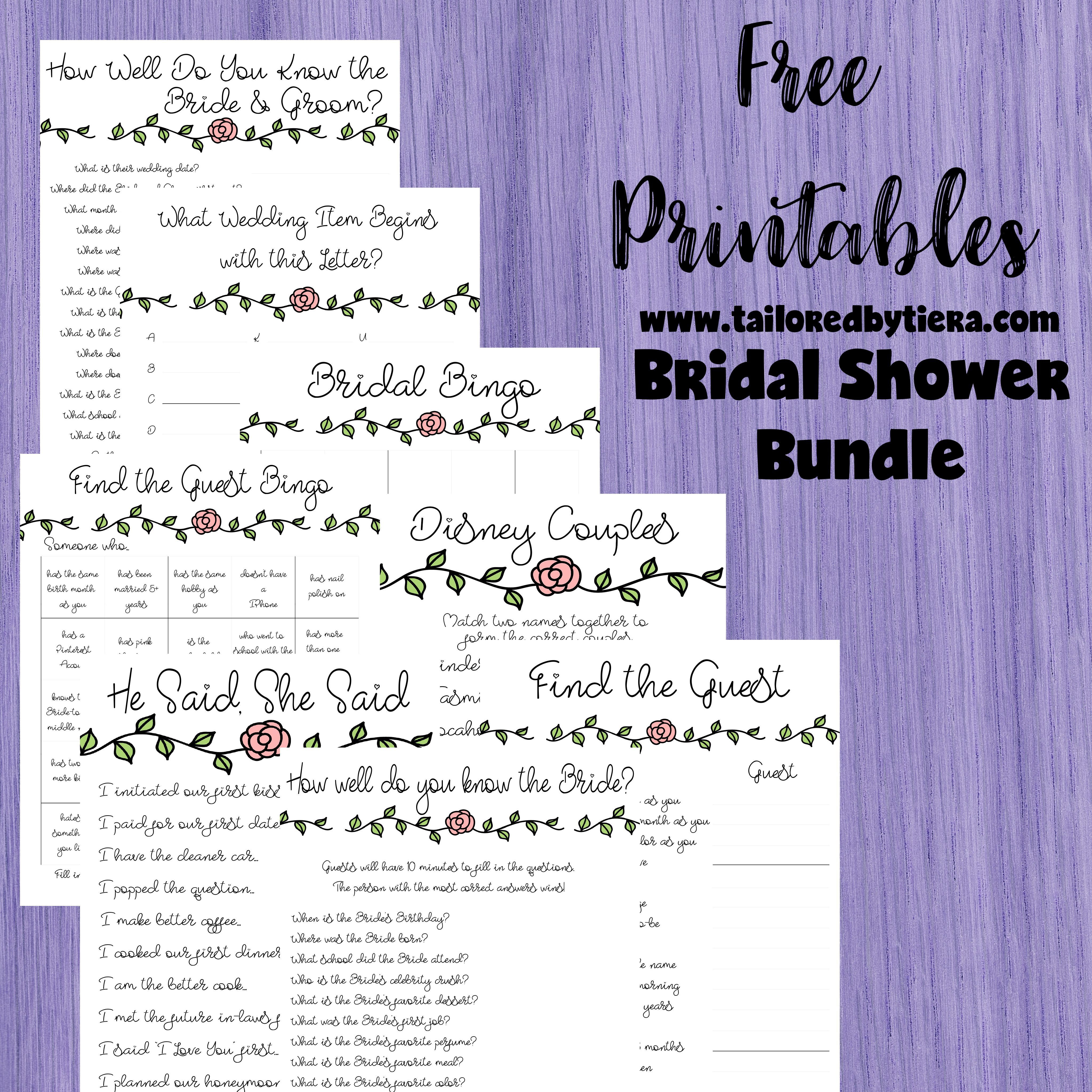 Small Of Bridal Shower Games Free
