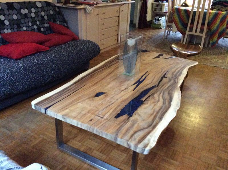 Table Basse Meuble Salon Teck Naturel Resine Design Industriel Table Basse Bois Table Basse Table Basse Bois Massif