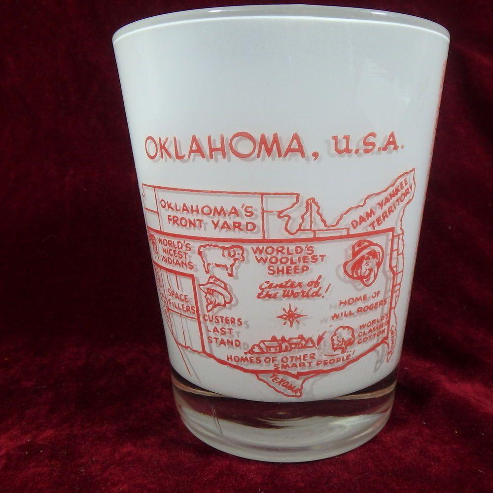 OKLAHOMA JIGGER Joke XL Shot Glass Tumbler Center of the World Map
