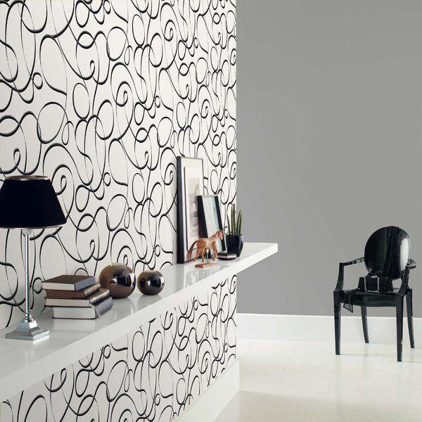 Papel pintado trazo liado negro y plata fondo blanco 1 pinterest fondos blanco trazos y - Papel pintado negro ...