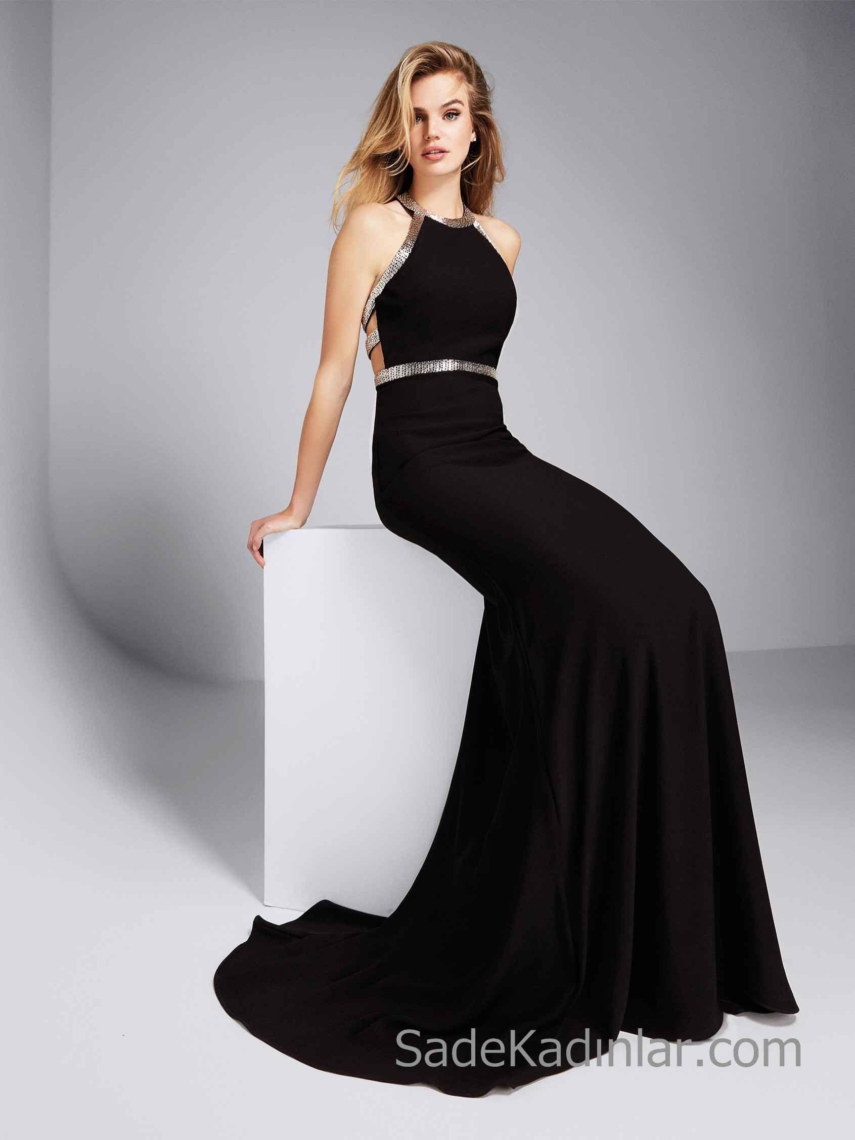 e9d39347d8fa6 Pronovias 2019 Abiye Elbise Modelleri Siyah Uzun Balık Halter yaka Sırt  Dekolteli Gümüş Boncuk İşlemeli