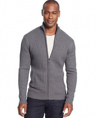 Alfani Ribbed Knit Full-Zip Sweater - Sweaters - Men - Macy's