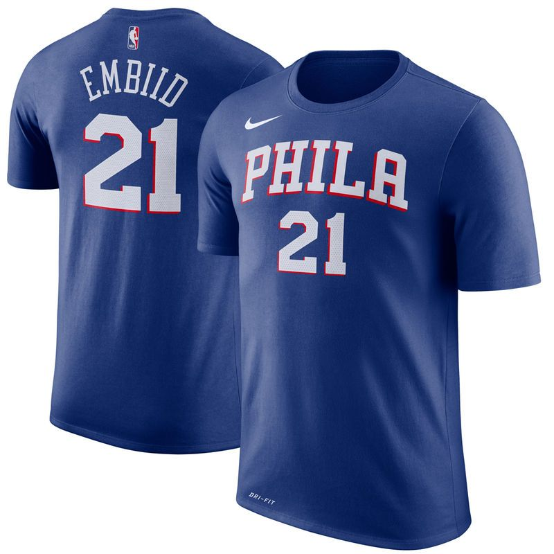 1da5325bae1 Joel Embiid Philadelphia 76ers Nike Name   Number Performance T-Shirt –  Royal
