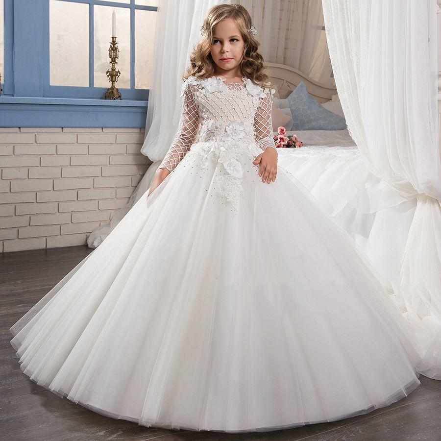 pas cher 2017 fleur blanche fille robe enfants robes de. Black Bedroom Furniture Sets. Home Design Ideas