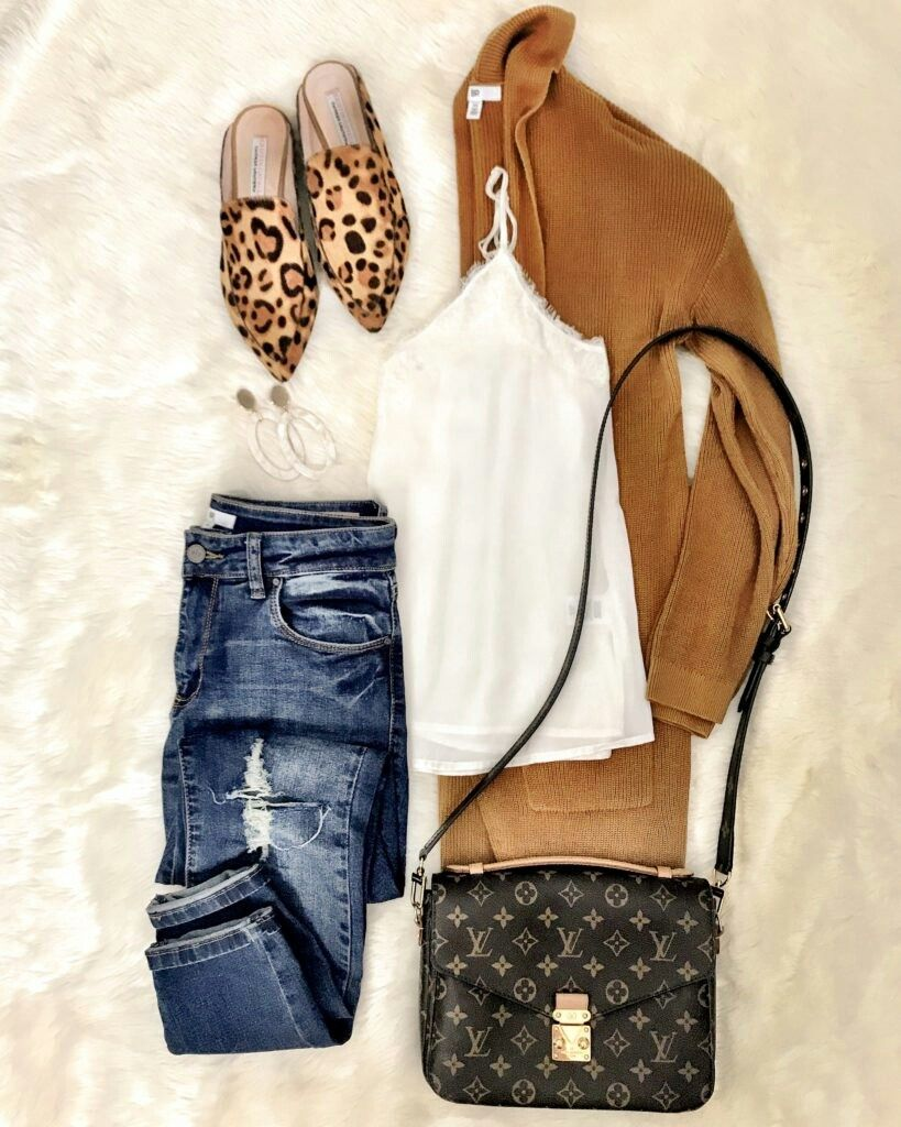 99cf7743e5ee Camel cardigan, white top, skinny jeans, leopard shoes, black crossbody bag
