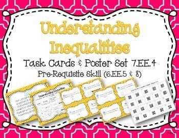 Understanding Inequalities Task Cards and Poster Set *7.EE.4 6.EE.5 6.EE.8