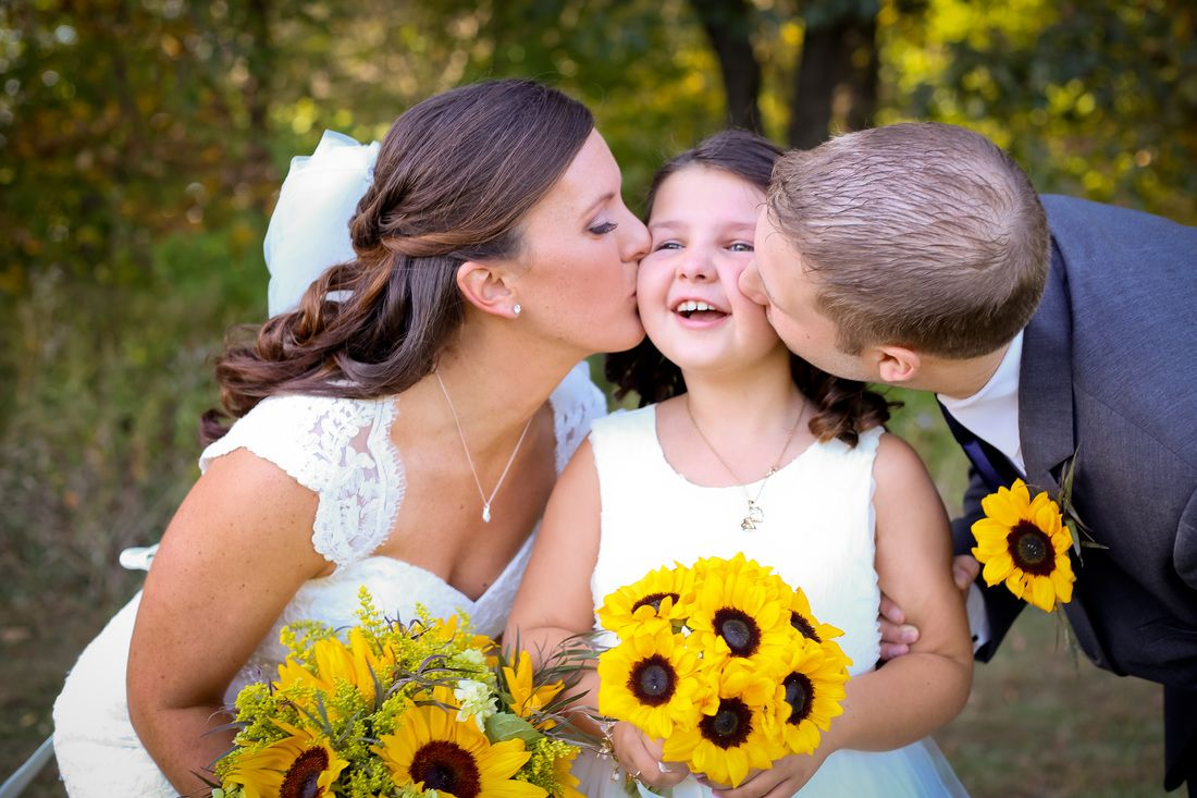 Bride, groom, and step daughter portraits. Fall Wedding at