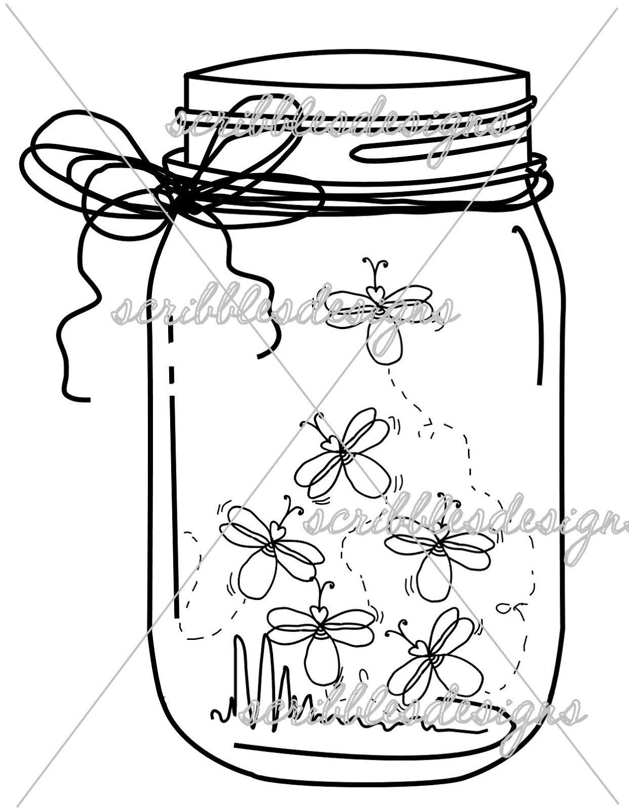 Scribbles Designs: #8102 Firefly Mason Jar ($3.00) | Luciérnagas ...